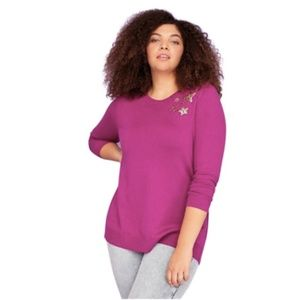 NWT Lane Bryant Knit Stars Sequin Purple Sweater